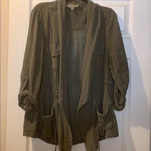 Torrid light weight army green sweater jacket